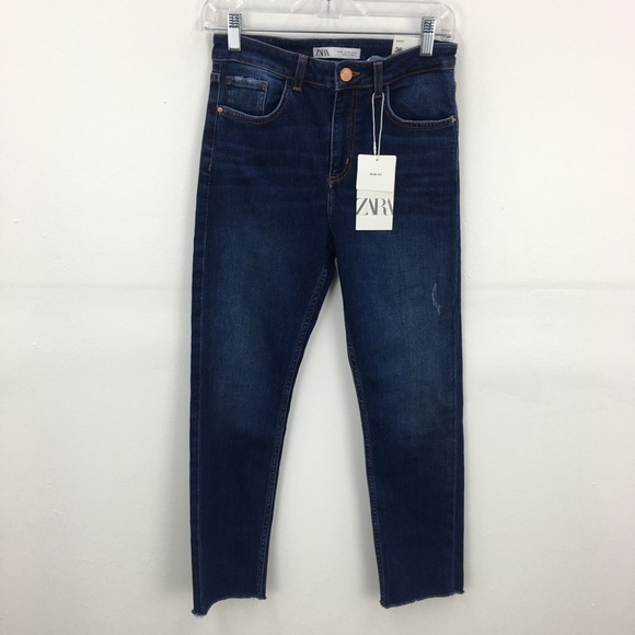 NWT Zara Blue Cotton Blend Skinny Fit Denim Jeans